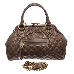 a9e05836f21 Marc Jacobs. Marc Jacobs Taupe Quilted Leather Stam Satchel Bag